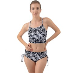 Black And White Patchwork Pattern Mini Tank Bikini Set