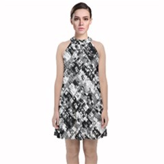 Black And White Patchwork Pattern Velvet Halter Neckline Dress