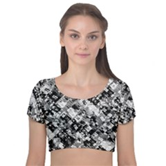 Black And White Patchwork Pattern Velvet Short Sleeve Crop Top
