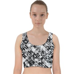 Black And White Patchwork Pattern Velvet Racer Back Crop Top