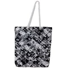 Black And White Patchwork Pattern Full Print Rope Handle Tote (large)