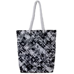 Black And White Patchwork Pattern Full Print Rope Handle Tote (small)