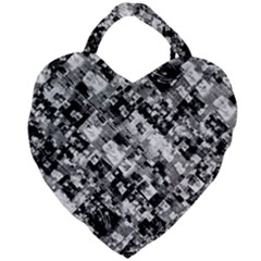 Black And White Patchwork Pattern Giant Heart Shaped Tote