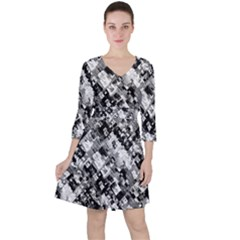 Black And White Patchwork Pattern Ruffle Dress