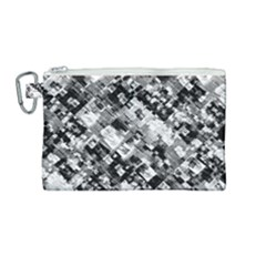 Black And White Patchwork Pattern Canvas Cosmetic Bag (medium)