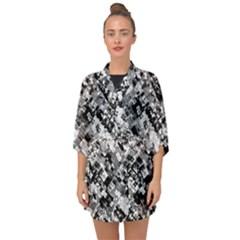 Black And White Patchwork Pattern Half Sleeve Chiffon Kimono