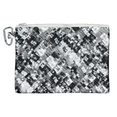 Black And White Patchwork Pattern Canvas Cosmetic Bag (xl)
