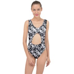 Black And White Patchwork Pattern Center Cut Out Swimsuit