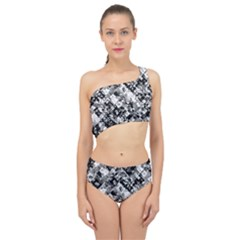Black And White Patchwork Pattern Spliced Up Swimsuit