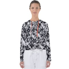 Black And White Patchwork Pattern Women s Slouchy Sweat