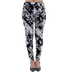 Black And White Patchwork Pattern Lightweight Velour Leggings