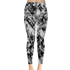 Black And White Patchwork Pattern Inside Out Leggings