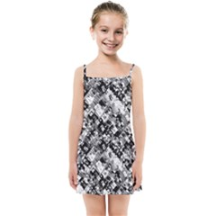 Black And White Patchwork Pattern Kids Summer Sun Dress