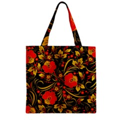Native Russian Khokhloma Zipper Grocery Tote Bag