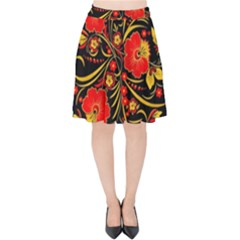 Native Russian Khokhloma Velvet High Waist Skirt by goljakoff