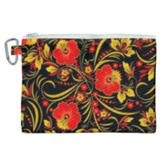 Native Russian Khokhloma Canvas Cosmetic Bag (xl) by goljakoff