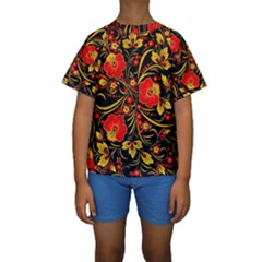 Native Russian Khokhloma Kids  Short Sleeve Swimwear