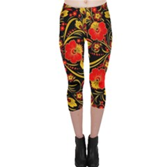 Native Russian Khokhloma Capri Leggings