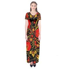 Native Russian Khokhloma Short Sleeve Maxi Dress