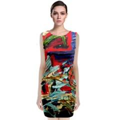 Blue Flamingoes 6 Classic Sleeveless Midi Dress