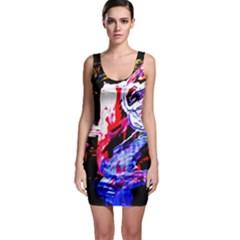 Blue Flamingoes Bodycon Dress