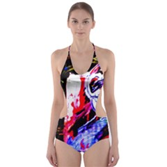 Blue Flamingoes Cut Out One Piece Swimsuit