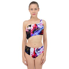 Blue Flamingoes Spliced Up Swimsuit