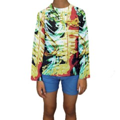 Blue Flamingoes 3 Kids  Long Sleeve Swimwear