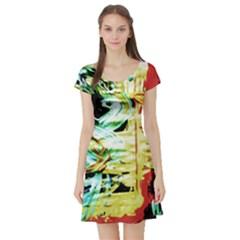 Blue Flamingoes 3 Short Sleeve Skater Dress