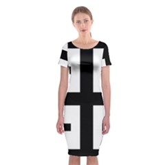 Black Jerusalem Cross  Classic Short Sleeve Midi Dress
