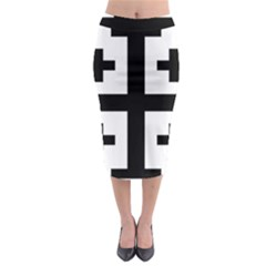 Black Jerusalem Cross  Midi Pencil Skirt by abbeyz71