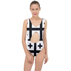 Black Jerusalem Cross  Center Cut Out Swimsuit