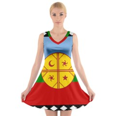Flag Of The Mapuche People V Neck Sleeveless Dress