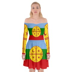 Flag Of The Mapuche People Off Shoulder Skater Dress by abbeyz71