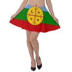 Flag Of The Mapuche People Velvet Skater Skirt