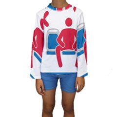 No Manspreading Sign Kids  Long Sleeve Swimwear