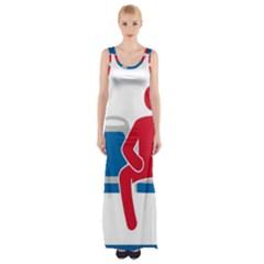 No Manspreading Sign Maxi Thigh Split Dress