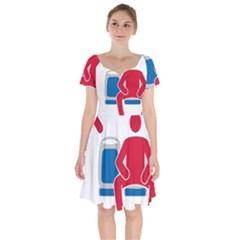 No Manspreading Sign Short Sleeve Bardot Dress