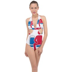 No Manspreading Sign Halter Front Plunge Swimsuit