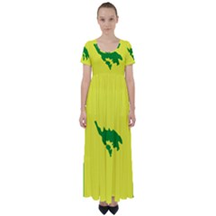 Flag Of Culebra High Waist Short Sleeve Maxi Dress