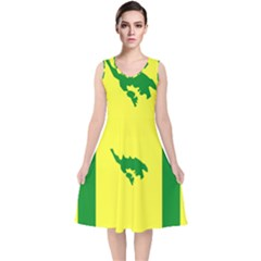 Flag Of Culebra V Neck Midi Sleeveless Dress