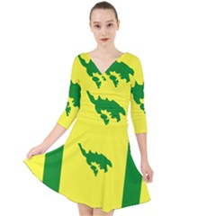 Flag Of Culebra Quarter Sleeve Front Wrap Dress