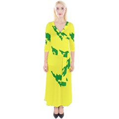 Flag Of Culebra Quarter Sleeve Wrap Maxi Dress