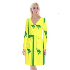 Flag Of Culebra Long Sleeve Velvet Front Wrap Dress