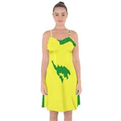 Flag Of Culebra Ruffle Detail Chiffon Dress