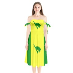 Flag Of Culebra Shoulder Tie Bardot Midi Dress