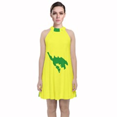 Flag Of Culebra Velvet Halter Neckline Dress