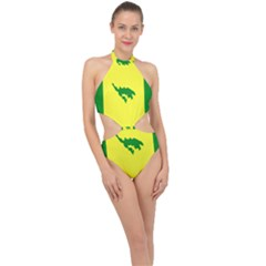 Flag Of Culebra Halter Side Cut Swimsuit