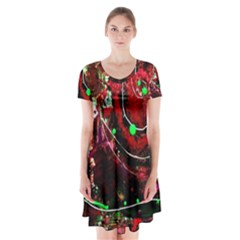 Bloody Coffee 5 Short Sleeve V Neck Flare Dress