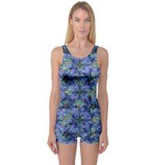 Modern Nature Print Pattern 7200 One Piece Boyleg Swimsuit